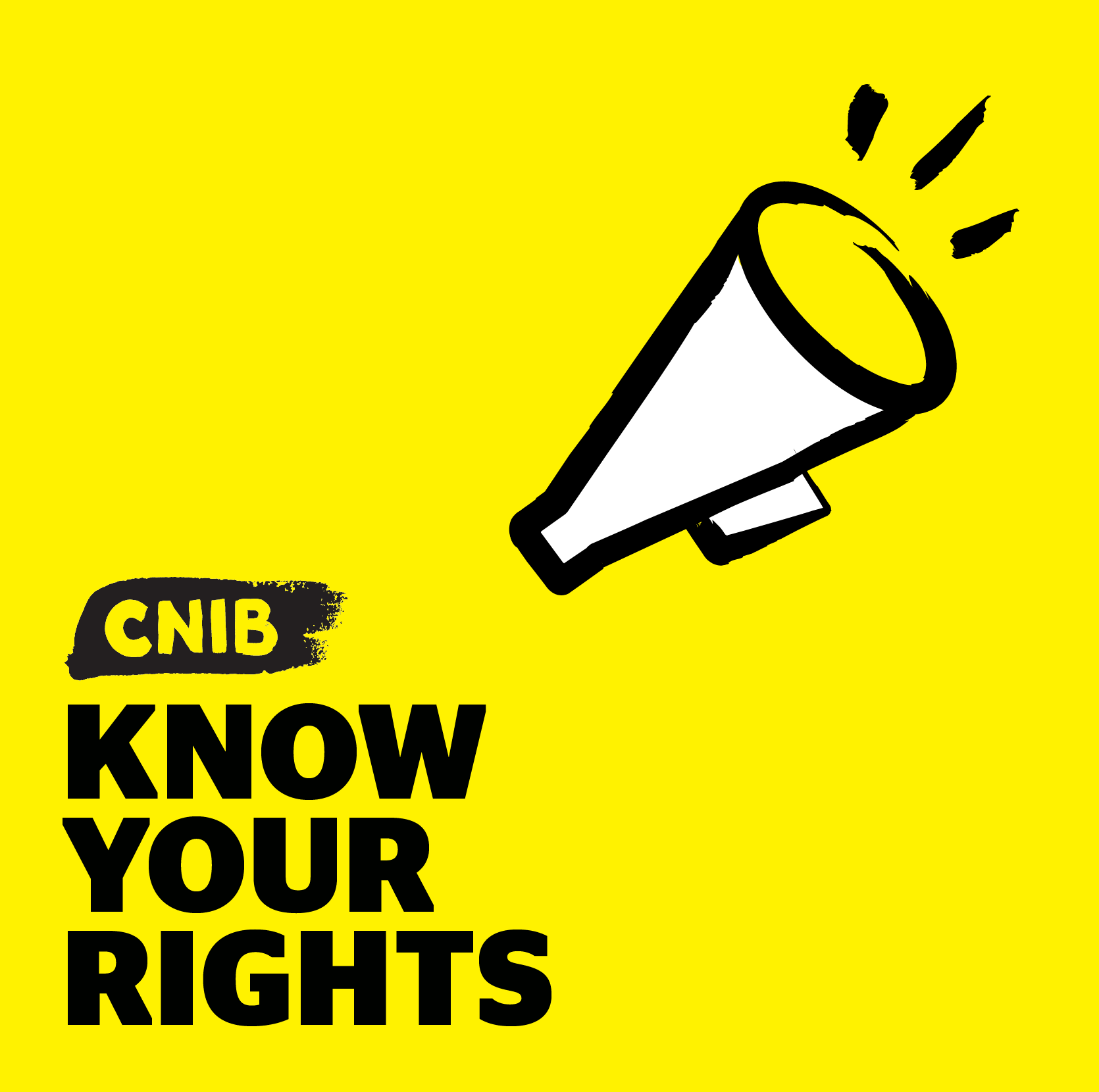 Know Your Rights podcast logo. An illustration of a megaphone. Text: Know Your Rights.