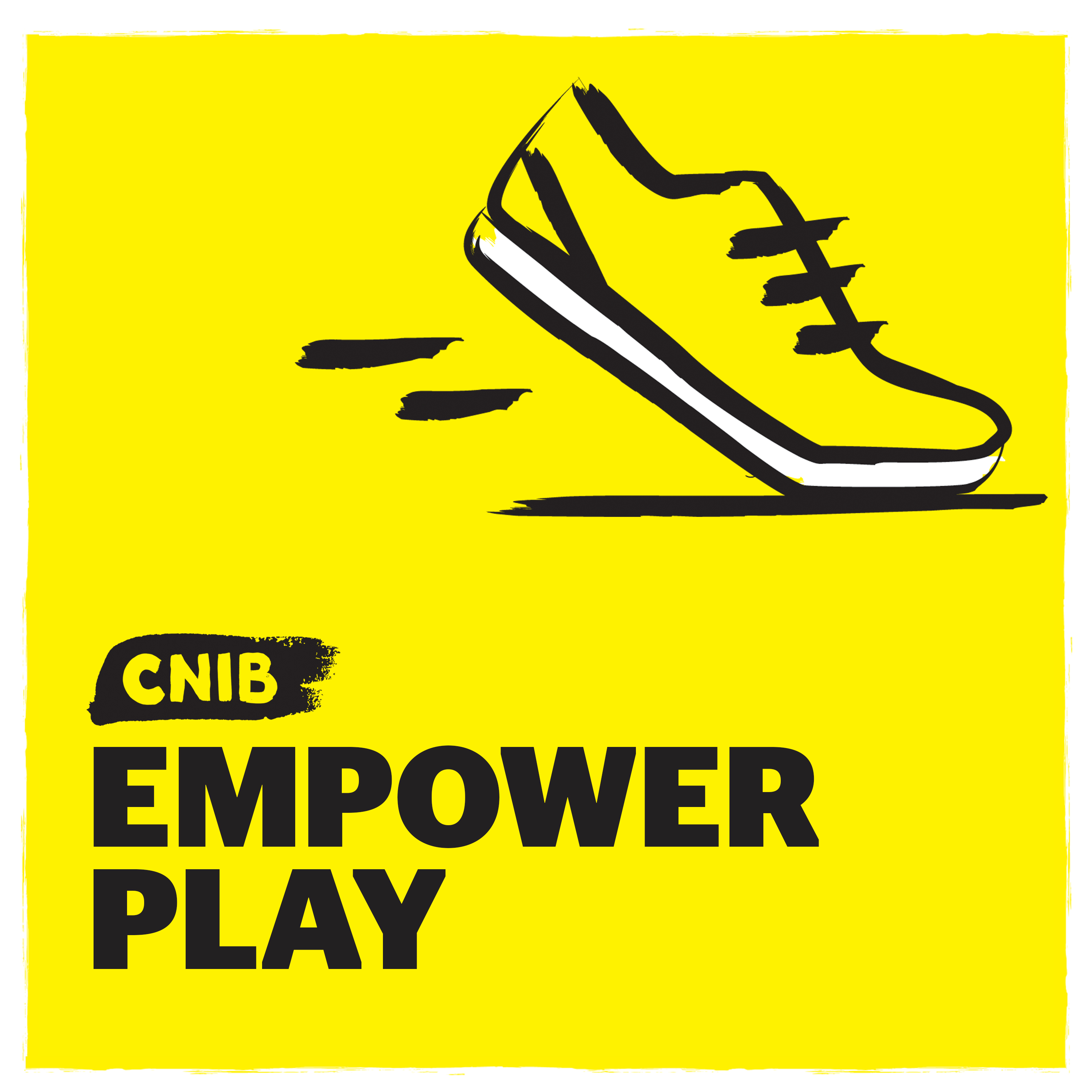 """CNIB EmpowerPlay"" with running shoe icon on yellow."