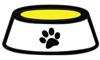 Icon of a water bowl with a paw print on it.
