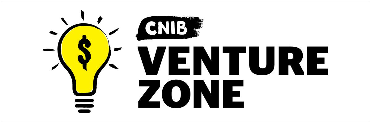 "Illustration of the Venture Zone Game logo, which displays a bright yellow lightbulb with a dollar sign placed over it next to the words ""CNIB Venture Zone""."