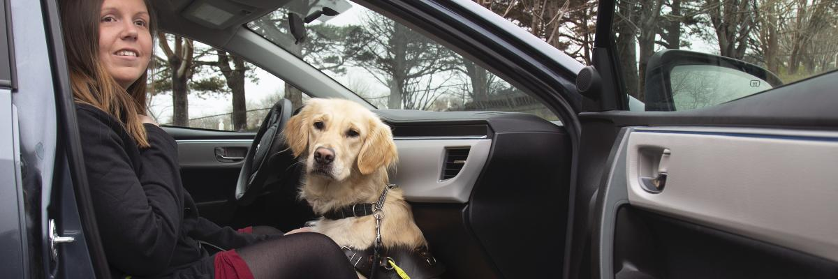 A woman sitting in the front passenger seat of a taxi and her guide dog, a golden retriever, sits at her feet between her legs.