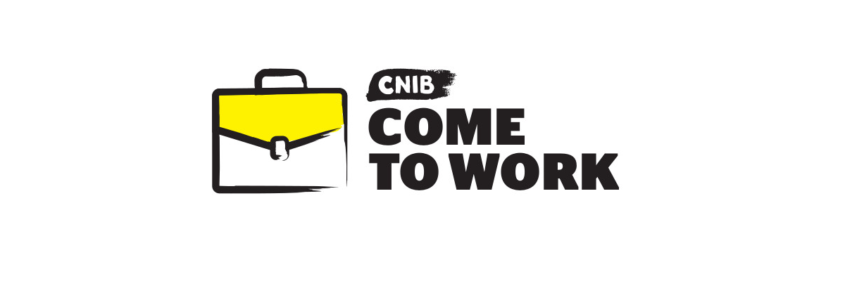 "An illustration of a briefcase with thick black border. ""CNIB Come to Work"""