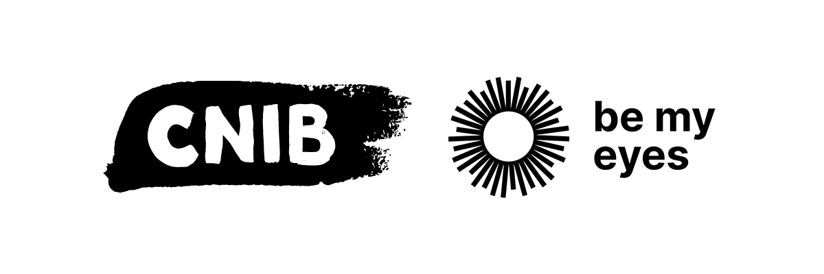 The CNIB brush stroke logo beside the Be My Eyes logo
