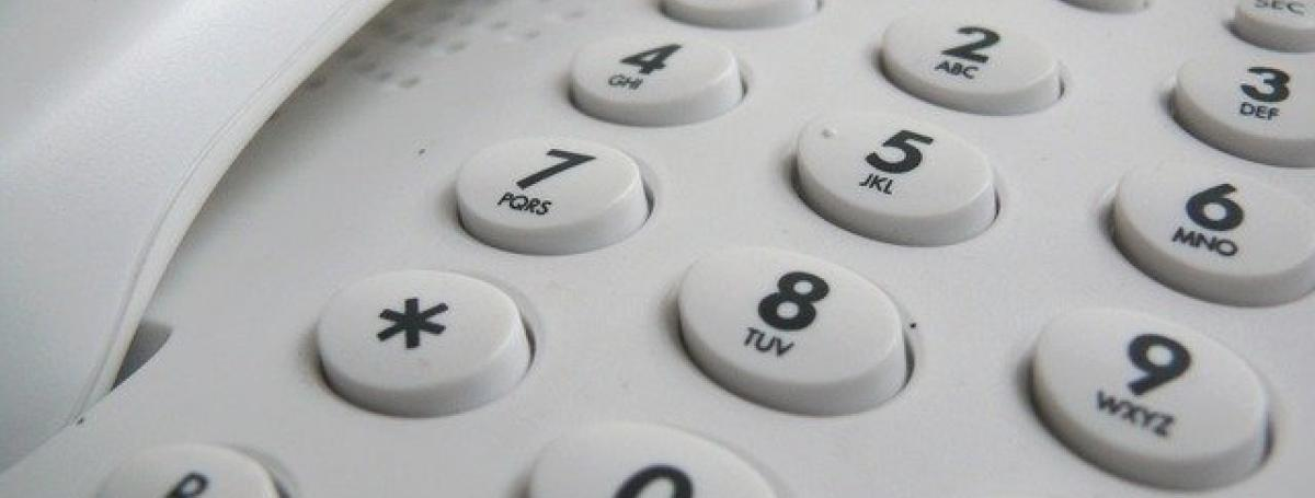 The keypad of a landline telephone.