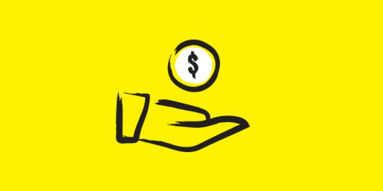 Hand with money sign icon