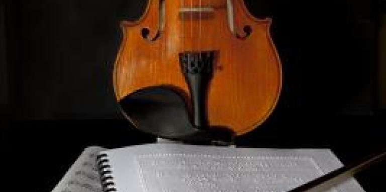 Braille music and a violin