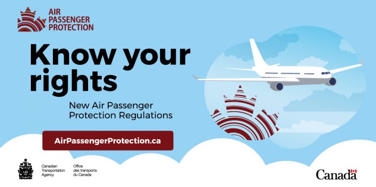 Canada Transportation Agency know your rights air passenger protection regulations logo.