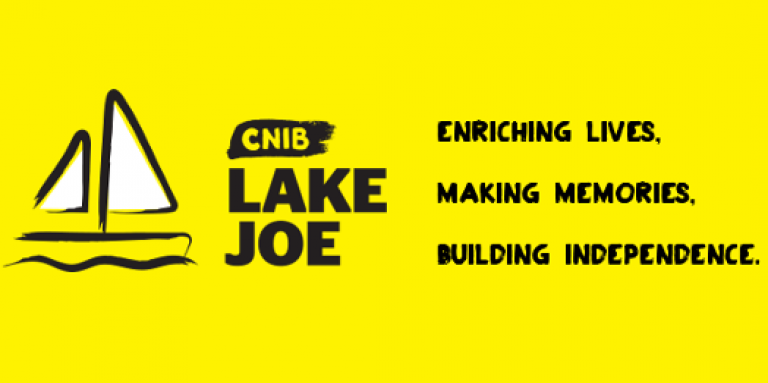 An illustration of a sailboat outlined in a black paintbrush style design. A dash of white paint appears on the boat sail. Text: CNIB Lake Joe.
