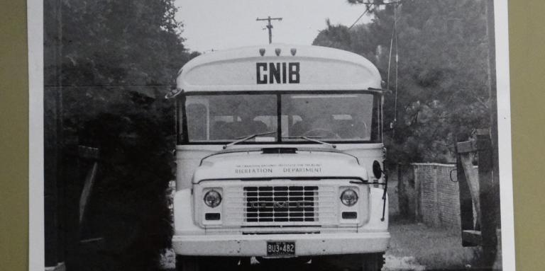 Picture of the old Lake Joe schoolbus, photo dated 1976