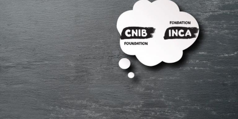 An illustration of a white, thought-cloud bubble against a grey background. Inside the thought bubble is the CNIB/INCA logo in black.