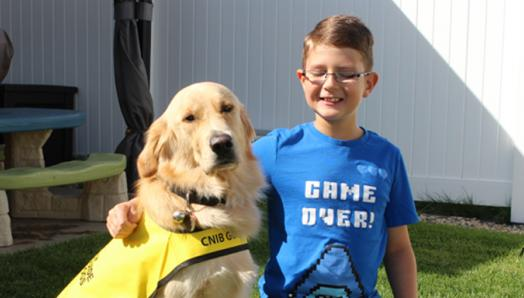 A smiling boy in glasses with his arm around a Golden Retriever in a yellow vest.
