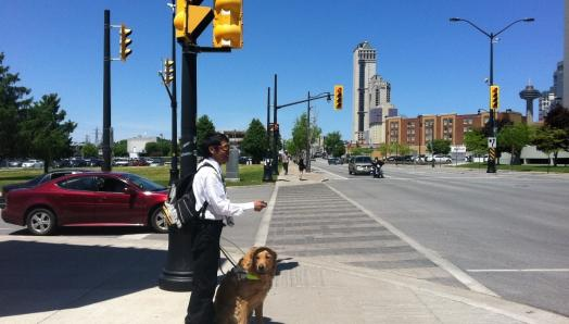 A young man and his guide dog stand on the corner of a busy intersection. In his right hand, he holds a Key2Access Fob. In his left hand, he holds the Guide Dog harness