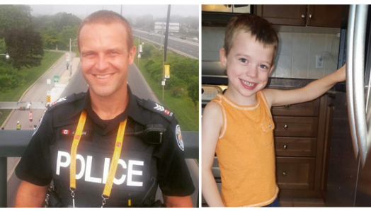 Detective Jeff Bangild in police uniform and his young son, Ryan