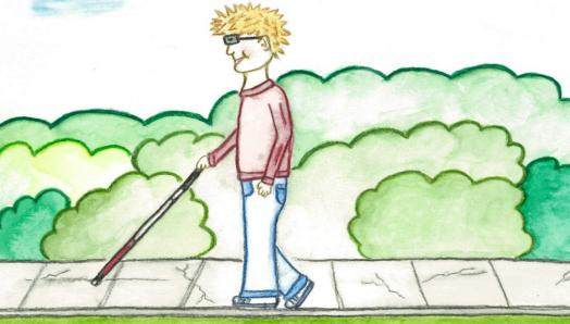 "Illustration of Tommy from ""Tommy Wants a Guide Dog"", a boy walking along a sidewalk using a white cane."
