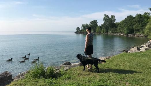 Cindy and her guide dog Barney, a black Labrador-Retriever, overlooking a lake with ducks swimming by.