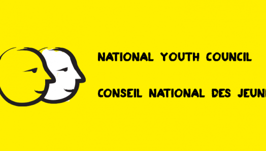 A yellow banner featuring an illustration of two cartoon faces outlined in a thick, black paintbrush design. Text: National Youth Council.