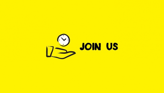 An icon of a hand with a white clock hovering above with the words 'join us' beside it in black on a solid yellow background.