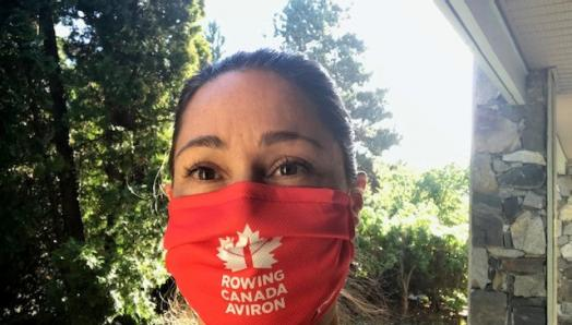 Victoria Nolan takes a selfie with her red Rowing Canada Aviron mask on