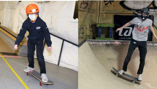 "Left: Gabriel Pigeon, a member of the ""Skate Bats"" is seen riding his skateboard at The Compound skatepark. Right: Curtis Ruttle rides a skateboard and attempts a quarter pipe inside the skatepark. He is wearing a helmet."